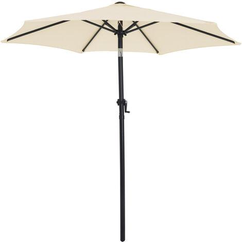 parasol inclinable o 200cm parasol en aluminium avec manivelle protection solaire jardin terrasse exterieur beige