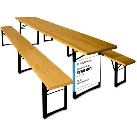 ensemble table et bancs pliable en bois 220 cm pour jardin terrasse fete