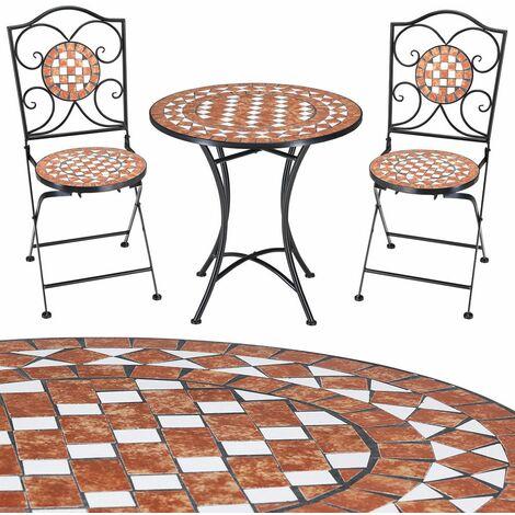 salon de jardin mosaique gernika ensemble table chaises pliantes mobilier de jardin balcon exterieur