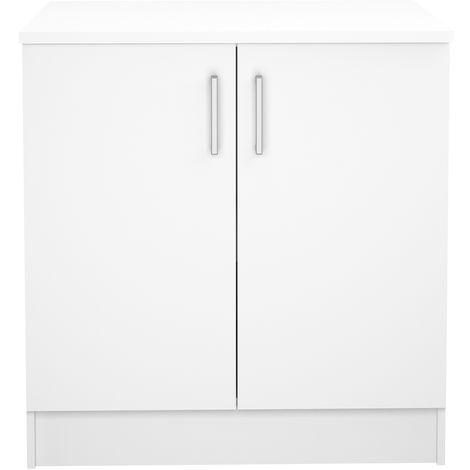 meuble de cuisine bas de 2 portes coloris blanc dim l 80 x p 60 x h 85 cm pegane