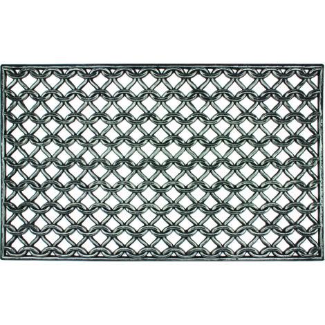 tapis gratte pieds exterieur grille maille en caoutchouc dim 45 x 75 cm pegane