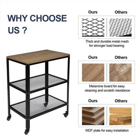 3 tier kitchen microwave cart rolling kitchen utility cart standing bakers rack storage cart with metal frame for living room brown