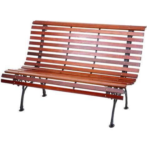 banc de jardin hhg 695 banc du parc banquette en bois 2 places 122cm 24kg marron