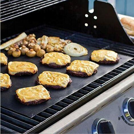 bbq gril ensemble de 4 non stick four en teflon tapis de cuisson reutilisables durables resistant a la chaleur des feuilles de barbecue pour