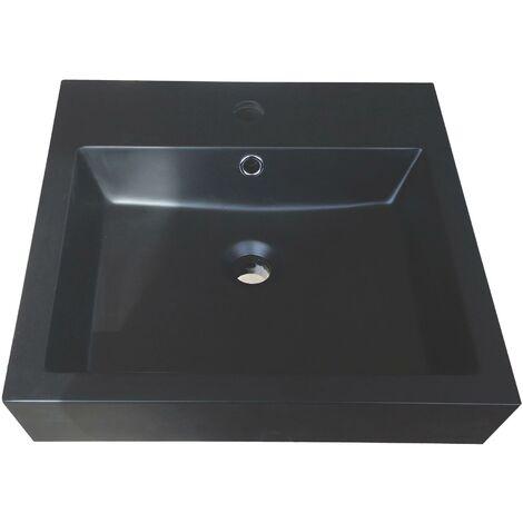 vasque carre a poser raissa noire 45x45cm resine avec trop plein