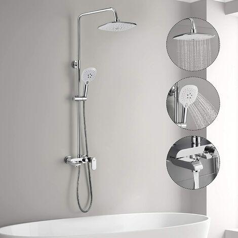 colonne de douche avec robinetterie baignoire woohse 3 fonctions ensemble de douche avec plateau de rangement systeme de douche a pluie avec 3 jets