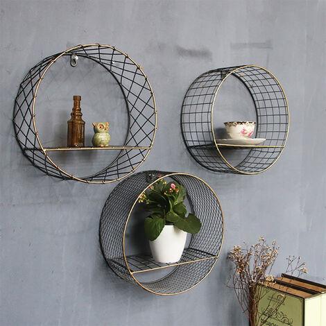 retro metal wall shelf round storage display rack shelving unit square grid