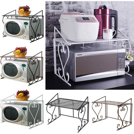 2 tier microwave oven rack holder kitchen tools storage stand shelf organiser black