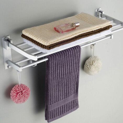 bathroom double alumiu towel rail holder wall mounted hooks storage rack shelf 50cm
