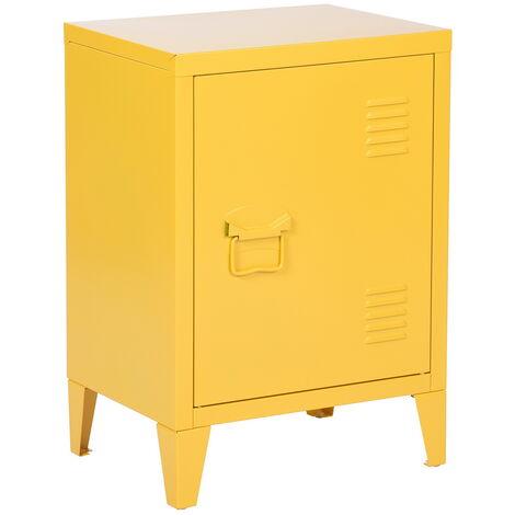 meuble bas caisson metal casier 1 porte jaune meuble cabinet table chevet armoire rangement bibliotheque coffret classeur porte poignee etageres