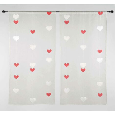motifs double coeurs rouge 70 x 140 cm