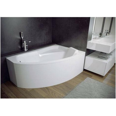 baignoire d angle droite rima 130 140 150 160 170 cm avec tablier dimensions 130cm blanc