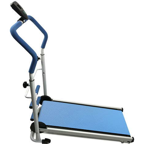 tapis de course pliable tapis de marche manuel avec ecran led courir mini fitness pour la maison ou le bureau bleu