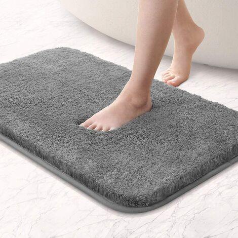 tapis de bain absorbant antiderapant extra epais de douche pour salle de bain tapis de sol chenille lavable en machine gris 60 x 90 cm