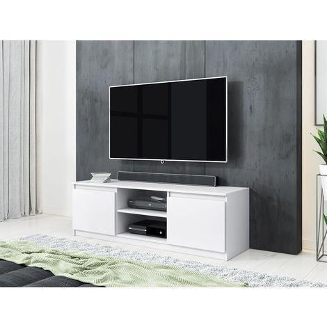 furnix meuble tv banc tv arenal 120 cm blanc mat sans led 2 niches ouvertes 2 compartiments fermes style classique