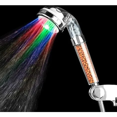 pommeau de douche a led filtration tete de douche lumineux douchette avec 7 couleurs changeantes augmentation de pression de l eau