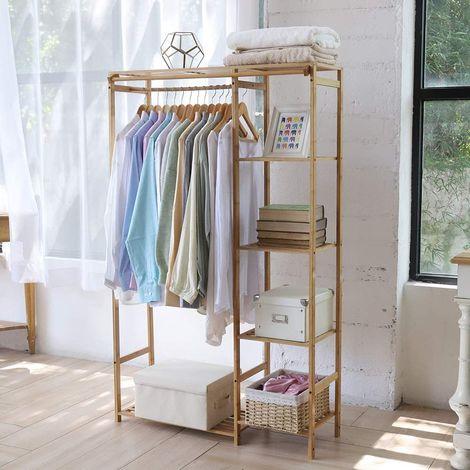 penderie a vetement autoportante porte manteau sur pieds en bambou armoire de rangement avec rideau pour maison chambre vestiaire