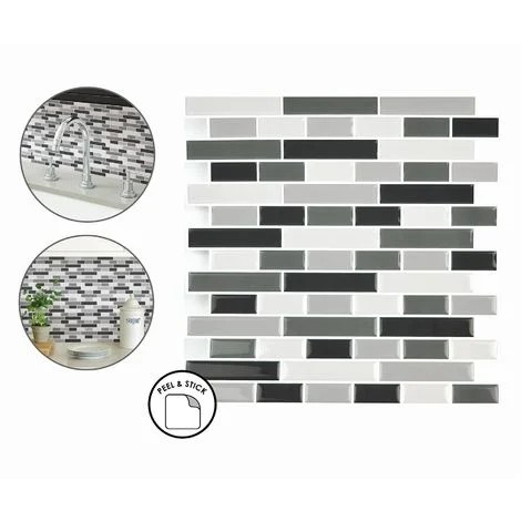 smoked glass backsplash tiles peel stick 4pcs white grey black wall stickers
