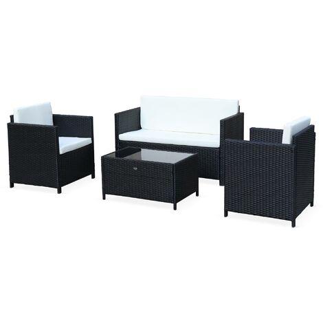 salon de jardin en resine tressee 4 places perugia 1 canape 2 fauteuils une table basse noir ecru