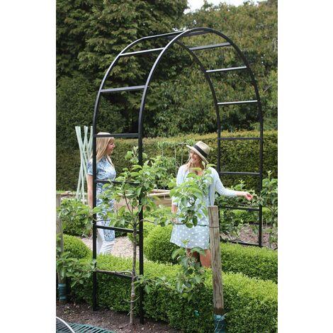 grande arche de jardin noir mat en acier galvanise roman 200 x 60 x 270 cm noir