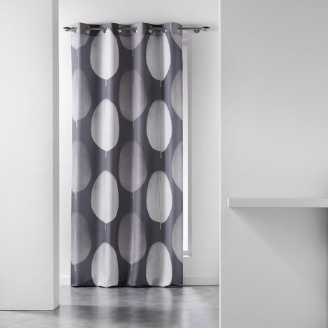 rideau a oeillets 140 x 280 cm polyester imprime tempo taupe