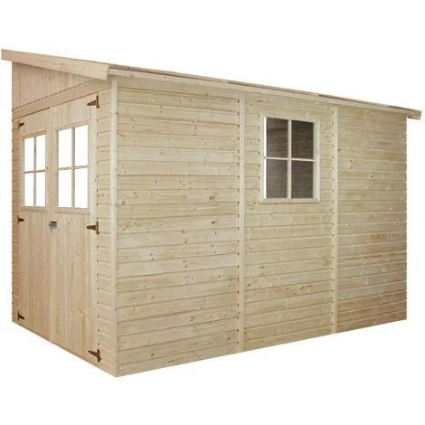 abri de jardin en bois naturel sans paroi laterale stockage exterieur avec fenetres h244x202x298 cm 6 02 m2 hangar en bois naturel atelier