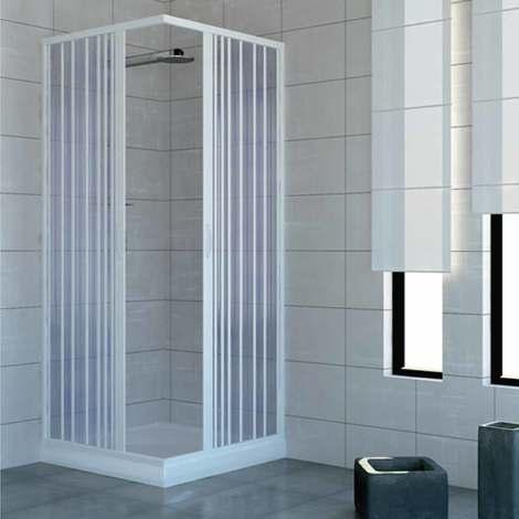 cabine paroi de douche en plastique pvc mod acquario 80x80 cm avec ouverture centrale