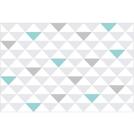 papier peint intisse triangles gris blanc turquoise peinture murale grand dimension hxl 190cm x 288cm