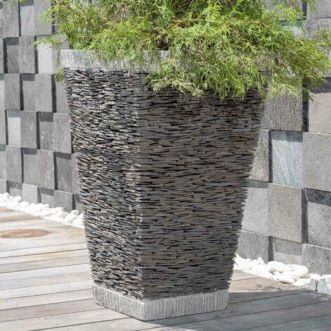pot bac jardiniere carre ardoise 80cm jardin terrasse pierre naturelle