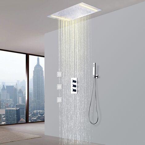 robinet de douche thermostatique avec tete de douche encastrable au plafond