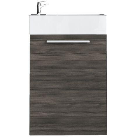 meuble de salle de bain athene chene gris 40x22 cm armoire de rangement meuble lavabo evier meubles chene gris