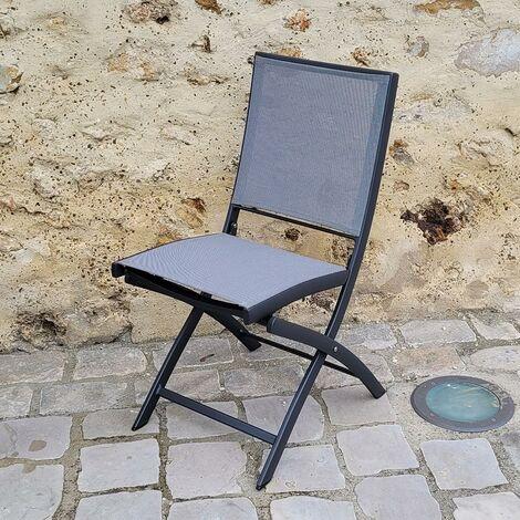 chaise pliante alu anthracite textilene gris cassini anthracite