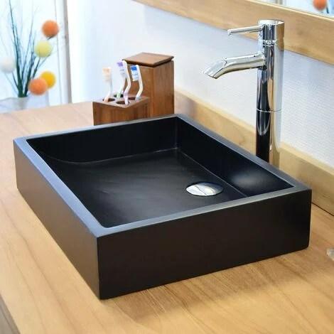 vasque en terrazzo effet beton noir a poser coreal noir