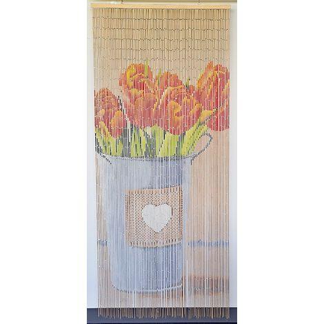 rideau de porte perles bambou interieur et exterieur porte d entree porte fenetre 90x200cm modele 6 champetre