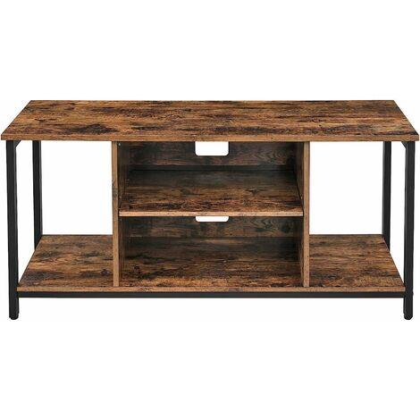 vasagle meuble tv support television avec compartiments de rangement ouverts table console avec etageres pour salon salle de jeu style