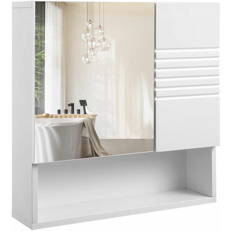 vasagle meuble de salle de bain avec miroir meuble de rangement mural armoire murale avec etageres reglables charniere a tampon 54 x 15 x 55 cm