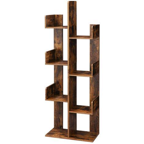 vasagle bibliotheque arbre etagere a 8 compartiments meuble de rangement 50 x 25 x 140 cm avec coins arrondis et rebords marron rustique par