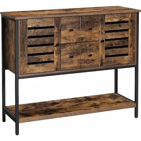 vasagle meuble de rangement buffet avec 2 tiroirs 2 placards etagere pour salle a manger salon cuisine 100 x 35 x 84 5 cm style industriel
