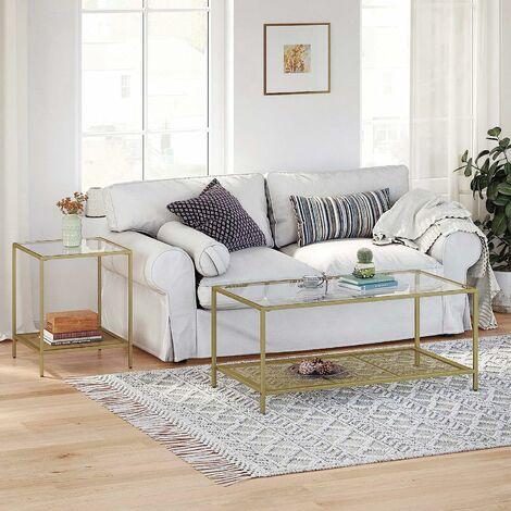 vasagle table basse table de salon avec dessus en verre etagere en maille cadre en metal stable pour salon dore et transparent par songmics