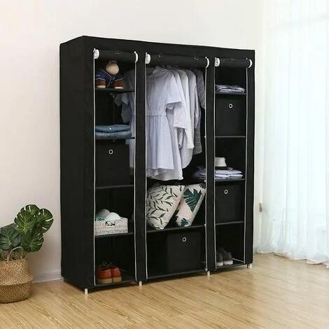 armoire de rangement 175 x 150 x 45cm noir penderie dressing en tissu intisse xxl lsf03h negro