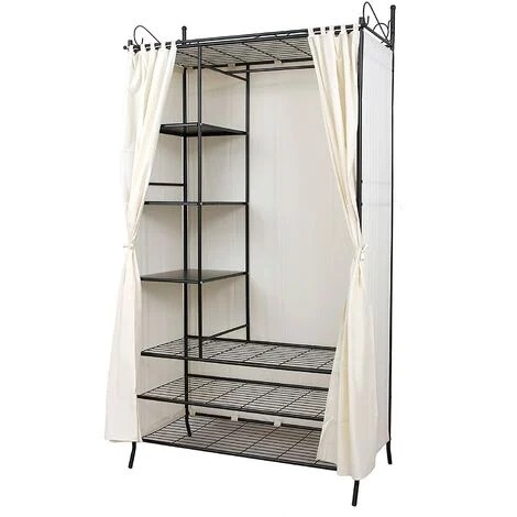 armoire de rangement penderie de vetement cadre en metal et housse 108 x 58 x 210cm l x l x h rtg04h beige