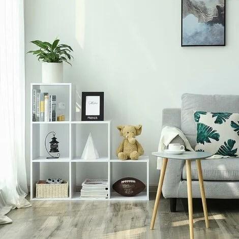 vasagle etagere escalier meuble de rangement 6 compartiments pour bibliotheque salon chambre blanc par songmics lbc63wt blanc