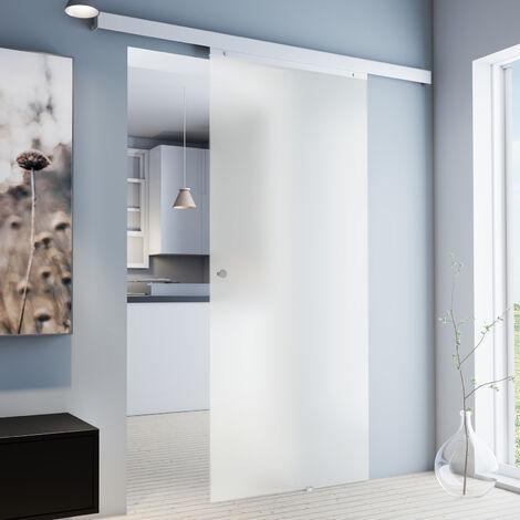 porte coulissante interieure en verre inova 88 x 203 cm porte vitree opaque 3 poignees differentes fermeture softclose en option poignee bouton
