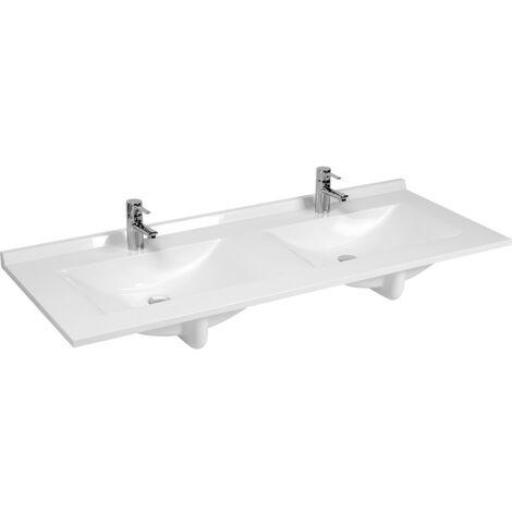 plan double vasque en resine de synthese resiplan 120 cm