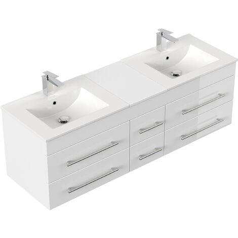 meuble salle de bain double vasque roma xl blanc brillant