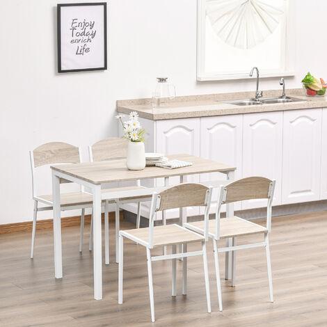 table de salle a manger avec 4 chaises style contemporain acier blanc mdf coloris bois de chene
