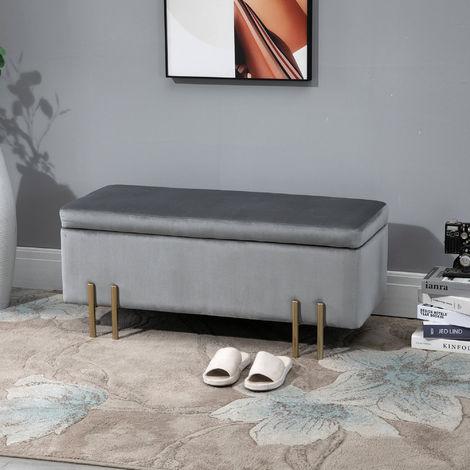 banc de rangement en velours coffre rangement tabouret avec pieds metallique design moderne luxueux ideal pour salon chambre salle de bain entree 100
