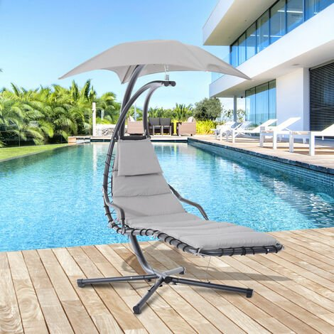 bain de soleil transat suspendu avec pare soleil et matelas design contemporain 194l x 117l x 192h cm acier polyester gris noir