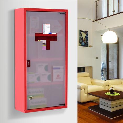 armoire a pharmacie 3 etageres 4 niveaux verrouillable porte verre trempe depoli logo croix 30l x 12 5l x 60h cm acier inox rouge