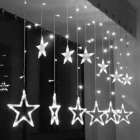 Le decorazioni luminose che indubbiamente fanno per te sono le tende di luci da esterno. Tenda Luminosa Natalizia Led Con Stelle Bianco Freddo 2mt Esterno Prolungabile